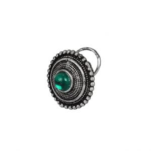 Green Stone Wired Nose Pin for Pierced Nose Main Image