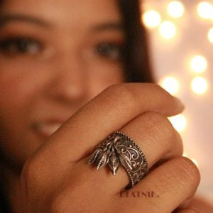 Handcrafted Brass Silver Lookalike Leaf Ring – Adjustable Lifestyle Image