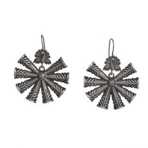 Handcrafted Silver Lookalike Snowflake Motif Brass Earrings Main Image