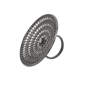 Oversized Handcrafted Brass Silver Lookalike Curved Ring – Adjustable Main Image