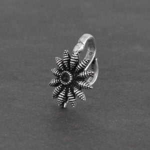 Oxidised Silver Clip On Nose Pin – Bloom on Black background