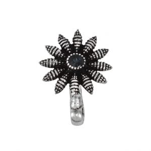 Oxidised Silver Clip On Nose Pin – Bloom Main Image