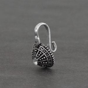 Oxidised Silver Clip On Nose Pin – Dome on Black background