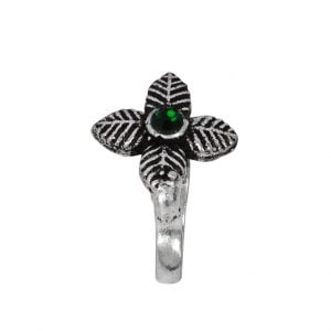 Oxidised Silver Clip On Nose Pin – Petals Main Image