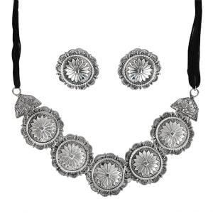 Oxidised Silver Round Flower Choker Earrings Set Main Image