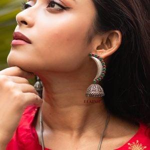 Silver Lookalike Handcrafted Brass Chandra Jhumki Earrings Lifestyle Image