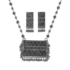 Silver Oxidised Plated Chain Necklace Earrings Set Main Image