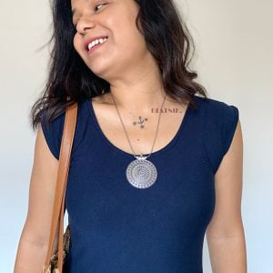Silver Oxidised Plated Round Pendant Chain Necklace Lifestyle Image