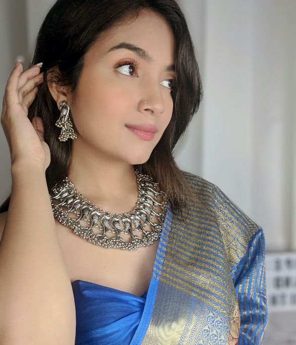 Silver Oxidised Plated Statement Peacock Choker Earrings Set Lifestyle Image