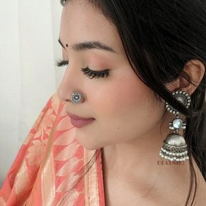 Silver Oxidised Round Spoke Wired Nose Pin for Pierced Nose Lifestyle image
