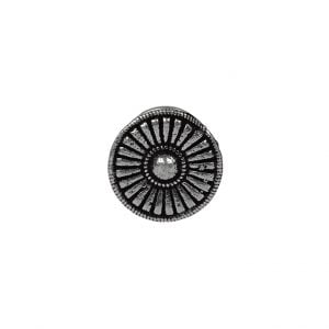 Silver Oxidised Round Spoke Wired Nose Pin for Pierced Nose Main Image