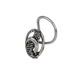 Silver Oxidised Wired Nose Pin for Pierced Nose – Oval Main image