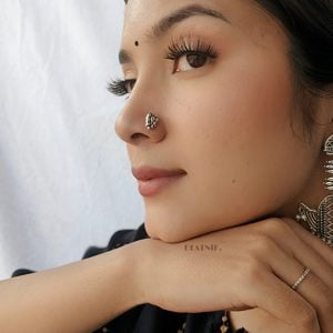 Silver Oxidised Wired Nose Pin for Pierced Nose Lifestyle Image