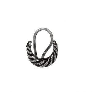 Silver Oxidised Wired Nose Pin for Pierced Nose – Chaand Main Image