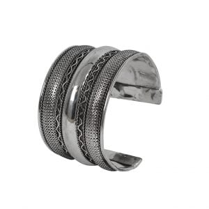 Silver Plated Brass Cuff Bangle – Adjustable Main Image