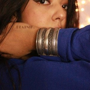 Silver Plated Brass Cuff Bangle – Adjustable Lifestyle Image