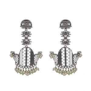 Silver Plated Jaali Pearl Brass Hanging Earrings Main Image