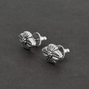 Silver Plated Small Stud Earrings- Bud on Black Background