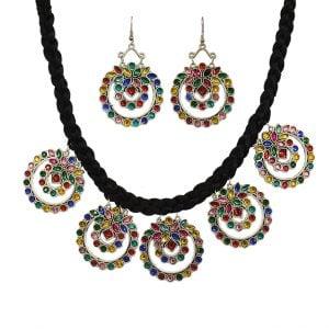 Tribal Multicolour Silver Oxidised Choker Earrings Set Main Image