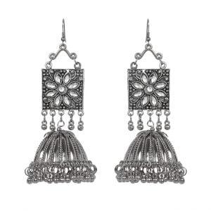 Boho Oxidised Silver Jhumka Main Image