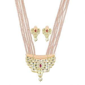 Festive Kundan Meenakari Jaipuri Necklace Earrings Set Main Image