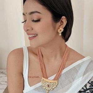 Festive Kundan Meenakari Jaipuri Necklace Earrings Set Lifestyle Image