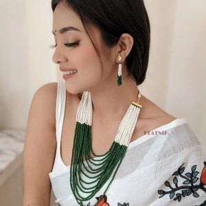 Festive Traditional Glass Cut Cheed Beads Necklace Earrings Set Lifestyle Image