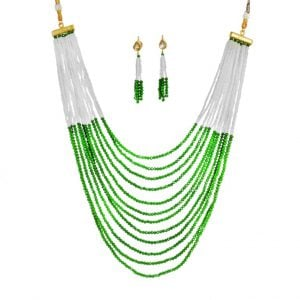 Festive Traditional Glass Cut Cheed Beads Necklace Earrings Set Main Image