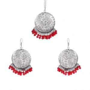 Festive Traditional Maang Tika Earrings Set – Red Beads Main Image