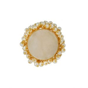 Gold Plated Druzy Stone Pearl Ring – Adjustable Main Image