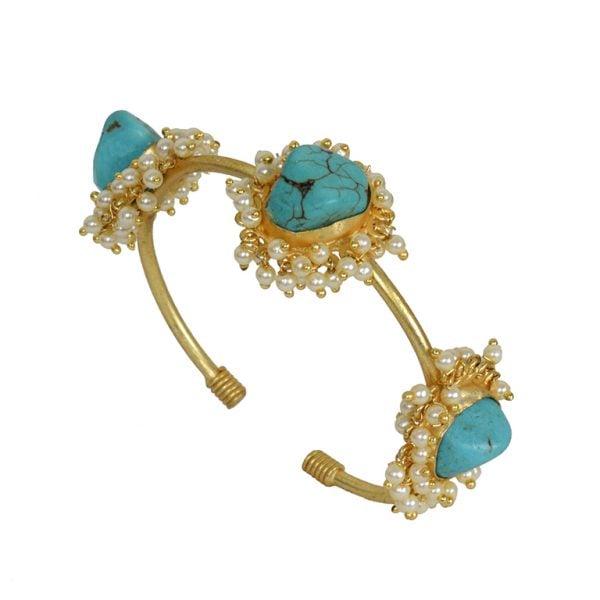 Golden Jadau Turquoise Stone Pearl Bangle – Adjustable Main Image