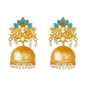 Gold Matte Plated Jhumki – Myra Main Image