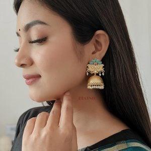 Gold Matte Plated Jhumki – Myra Lifestyle Image