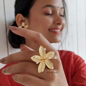 Gold Matte Blooming Flower Ring – Adjustable Lifestyle Image