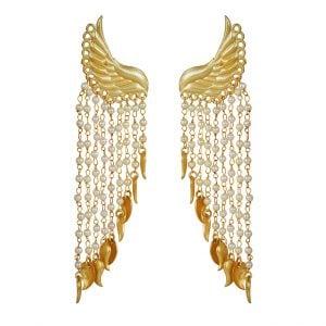Gold Matte Cherubic Pearl Dangling Earrings Main Image