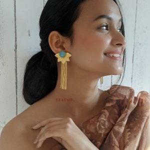 Gold Matte Dangler Earrings- Esther Lifestyle Image