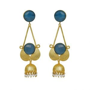 Gold Matte Hanging Earrings – Indigo Blue - Main Image
