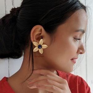 Gold Matte Petals Stud Earrings Lifestyle image