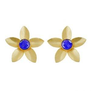 Gold Matte Petals Stud Earrings Main Image