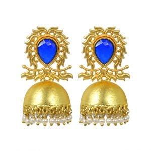 Gold Matte Plated Blue Stone Jhumki – Ameira Main Image