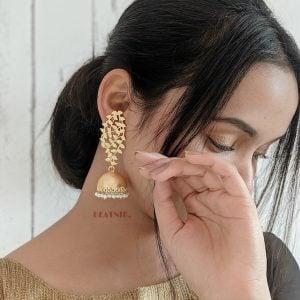 Gold Matte Plated Brass Jhumki – Aiyana Lifestyle Image