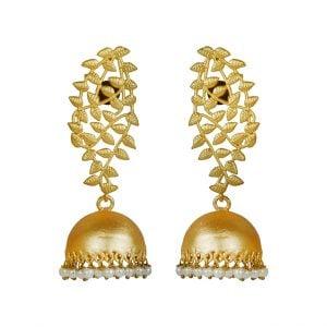 Gold Matte Plated Brass Jhumki – Aiyana Main Image