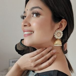 Gold Matte Plated Jhumki – Blossom Lifestyle Image