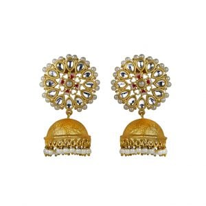 Gold Matte Plated Jhumki – Blossom Main Image