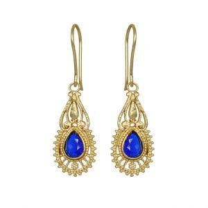 Gold Matte Plated Mini Hanging Earrings – Blue Main Image