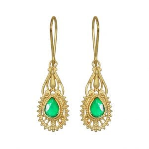 Gold Matte Plated Mini Hanging Earrings – Green Main Image