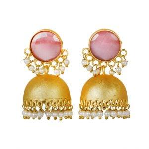 Gold Matte Plated Pink Stone Jhumki – Ziba Main Image