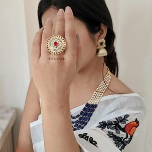 Gold Plated Red Zircon AD Studded Cocktail Ring – Adjustable Lifestyle Image
