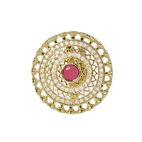 Gold Plated Red Zircon AD Studded Cocktail Ring – Adjustable Main Image