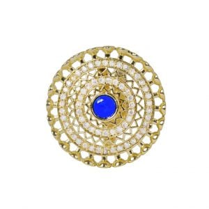 Gold Plated Zircon AD Studded Cocktail Ring – Adjustable Main Image